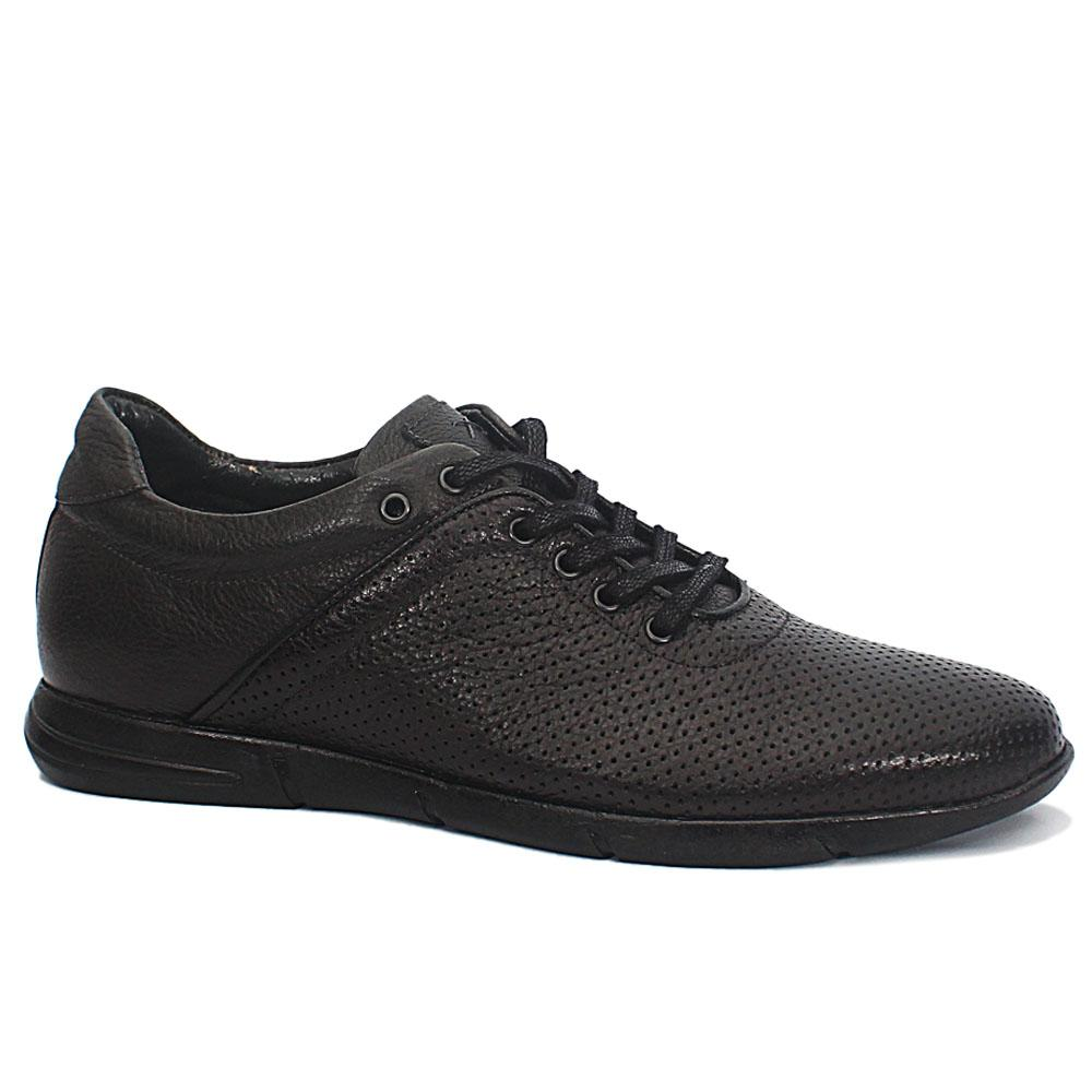 Dante Black Breathable Leather Sneakers