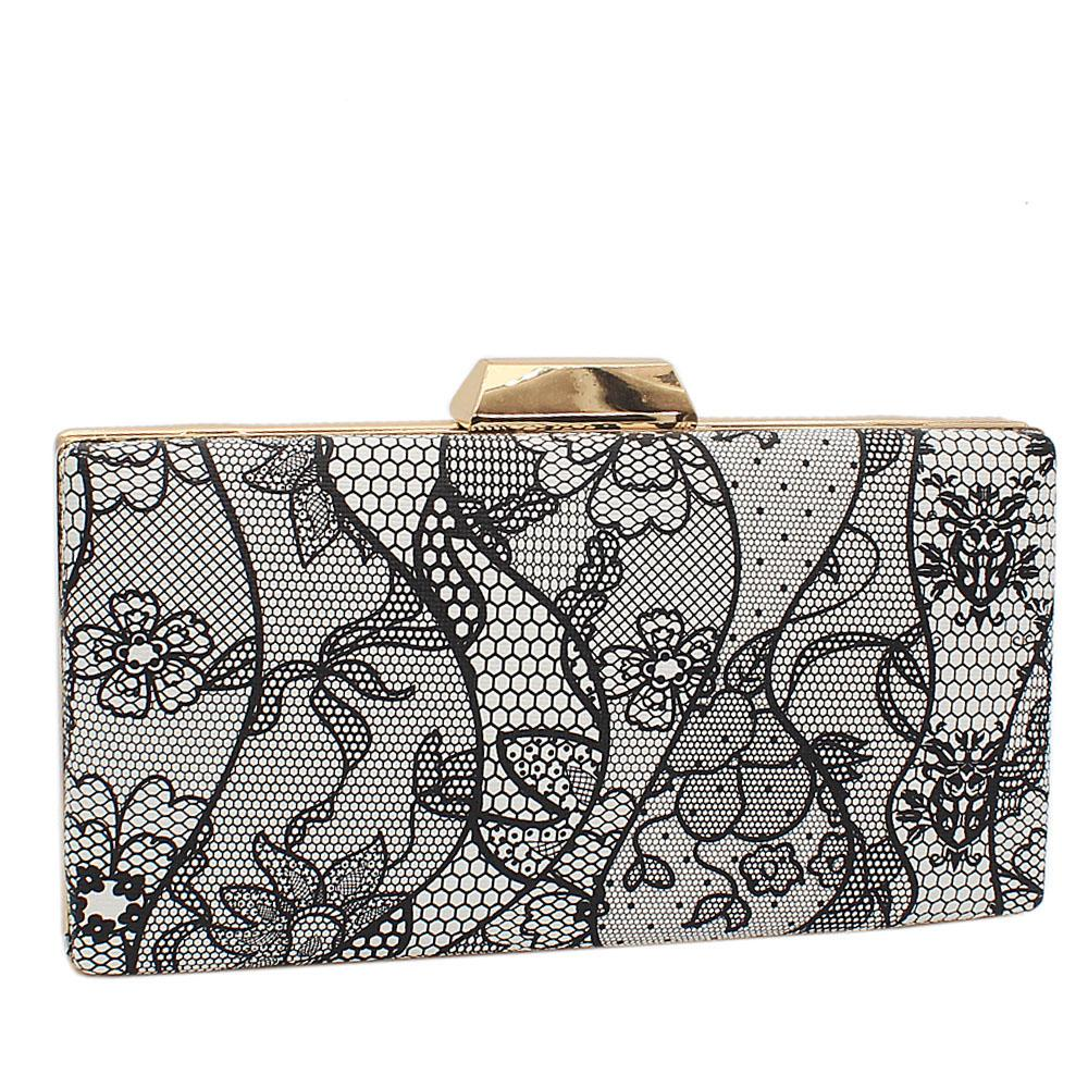 Monochrome Floral Print Leather Clutch Purse