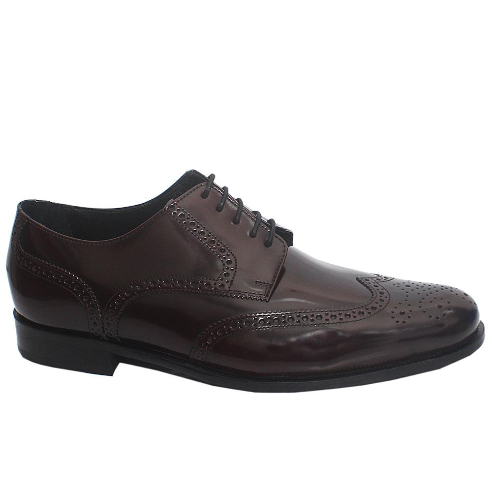 Coffee Nofri Patent Leather Men Derby Shoes