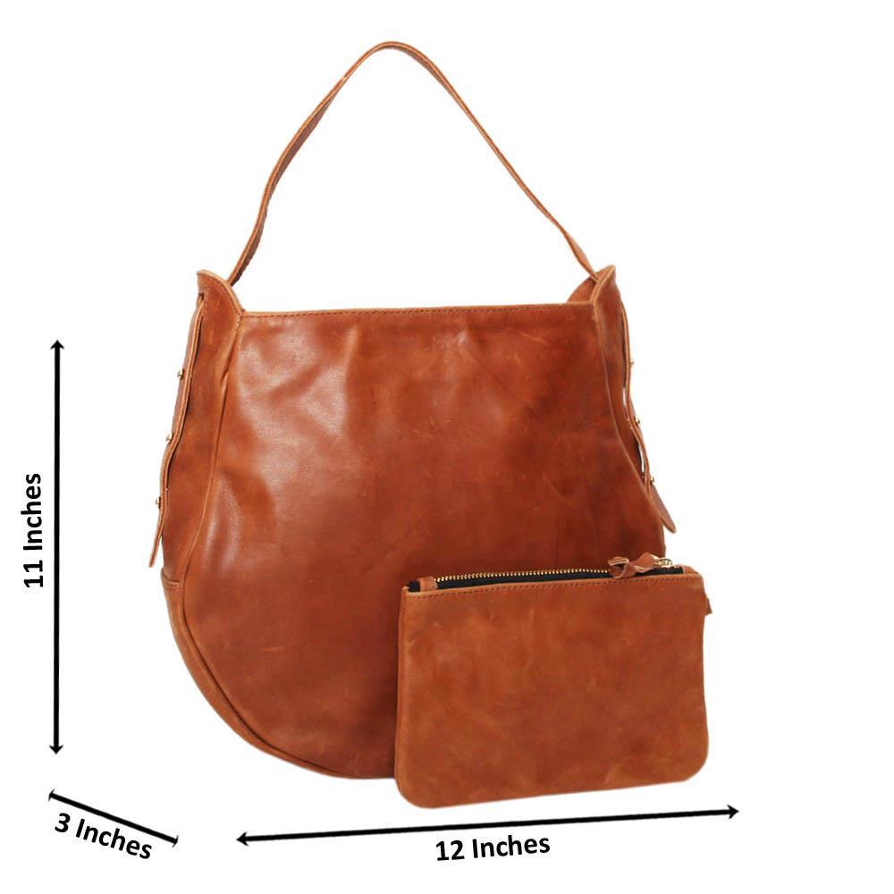 Brown Casiana Cowhide Leather Medium Hobo Handbag