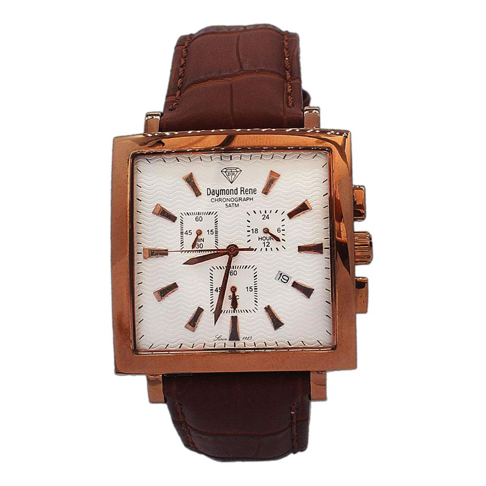 Rose Gold Brown Leather Chronograph Watch
