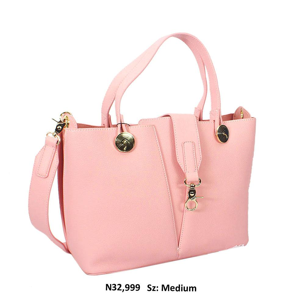 Pink Irene Leather Tote Handbag