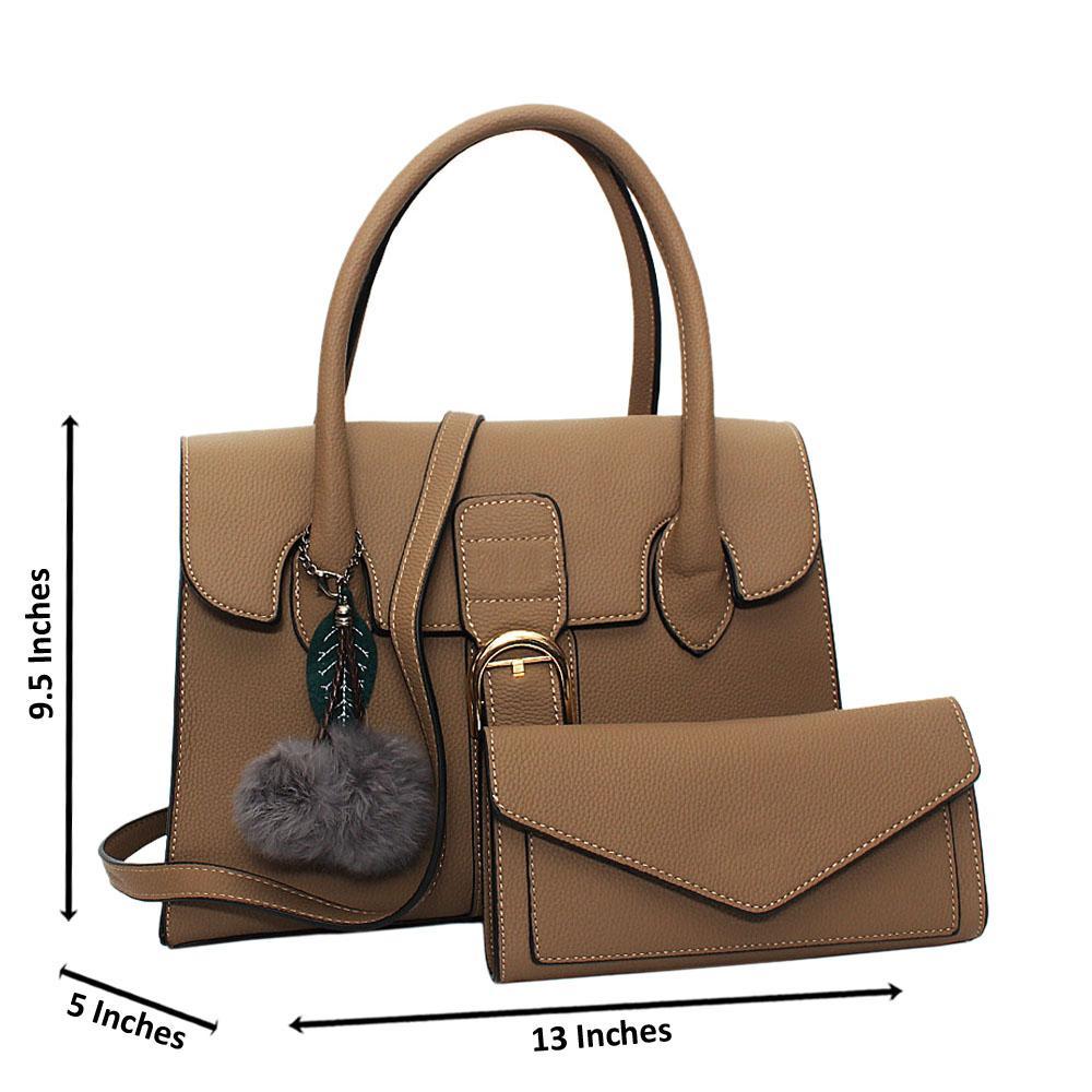 Khaki Natalia Leather Medium Tote Handbag