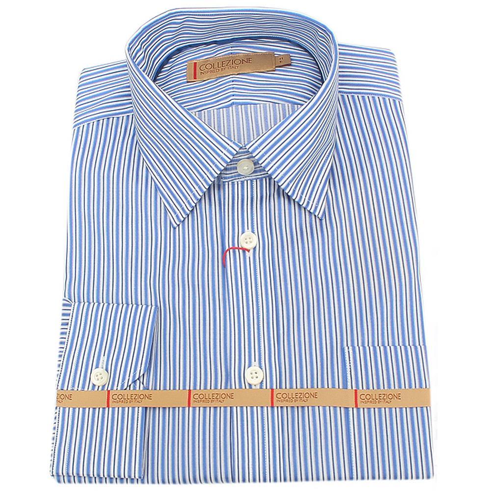Blue White Striped L Sleeve Men Shirt Sz 15