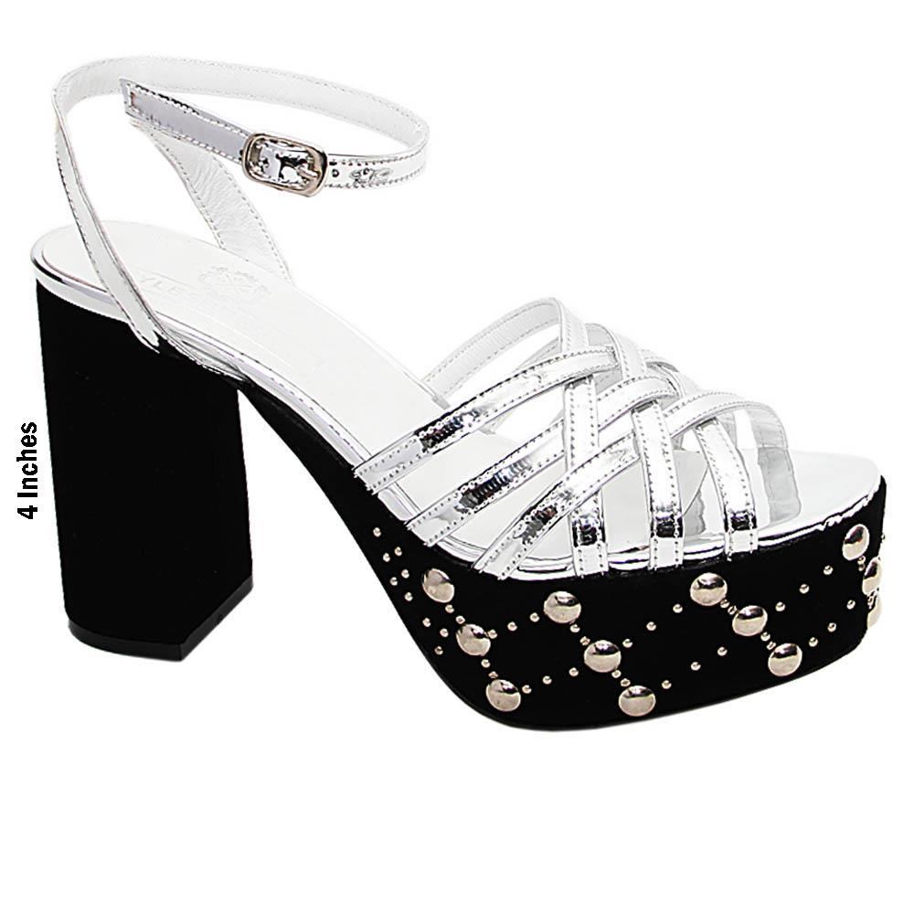 Silver Black Serena Studded Italian Leather Platform Sandal