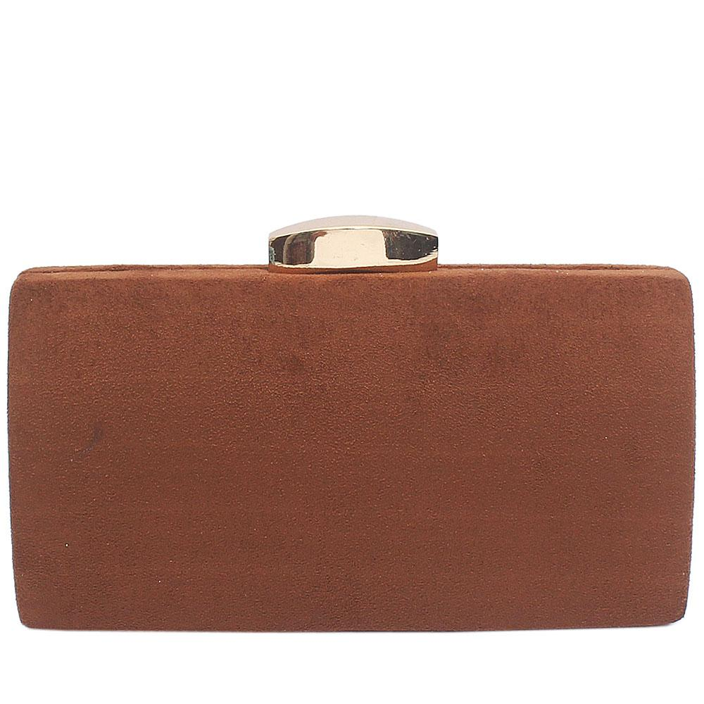 Brown Suede Bessie Clutch Purse