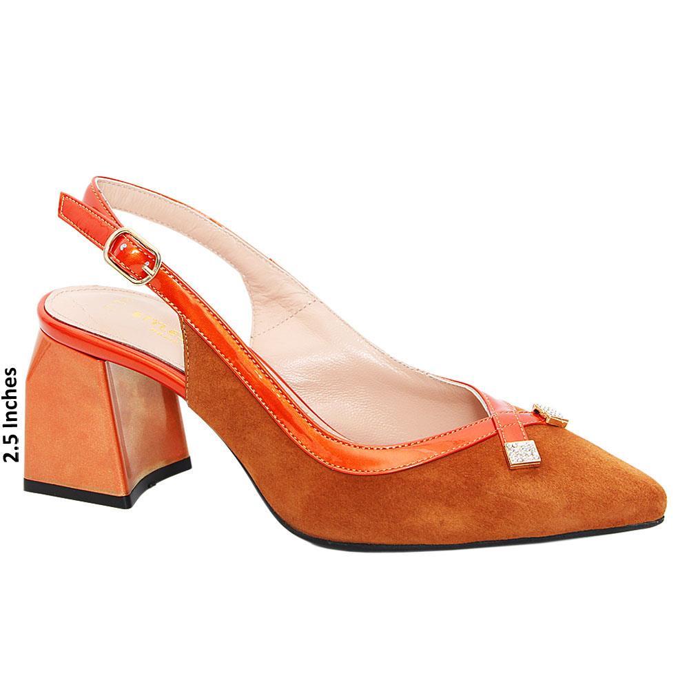 Orange Layla Suede Tuscany Leather Mid Heel Slingback Pumps
