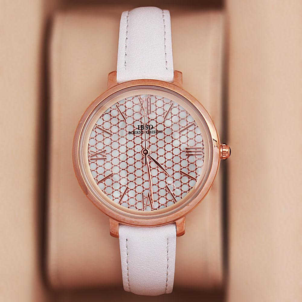 Vintage White Leather Slim Ladies Watch