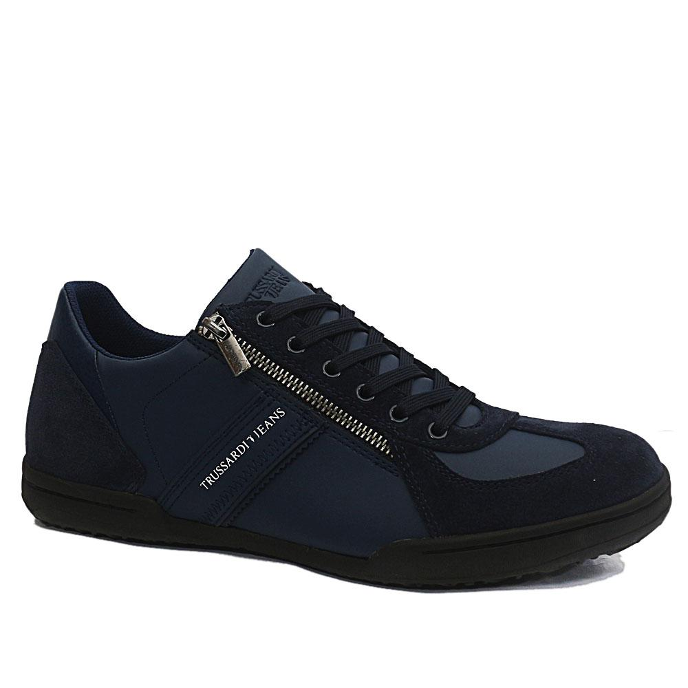 Trussardi Navy Mix Suede Leather Sneakers