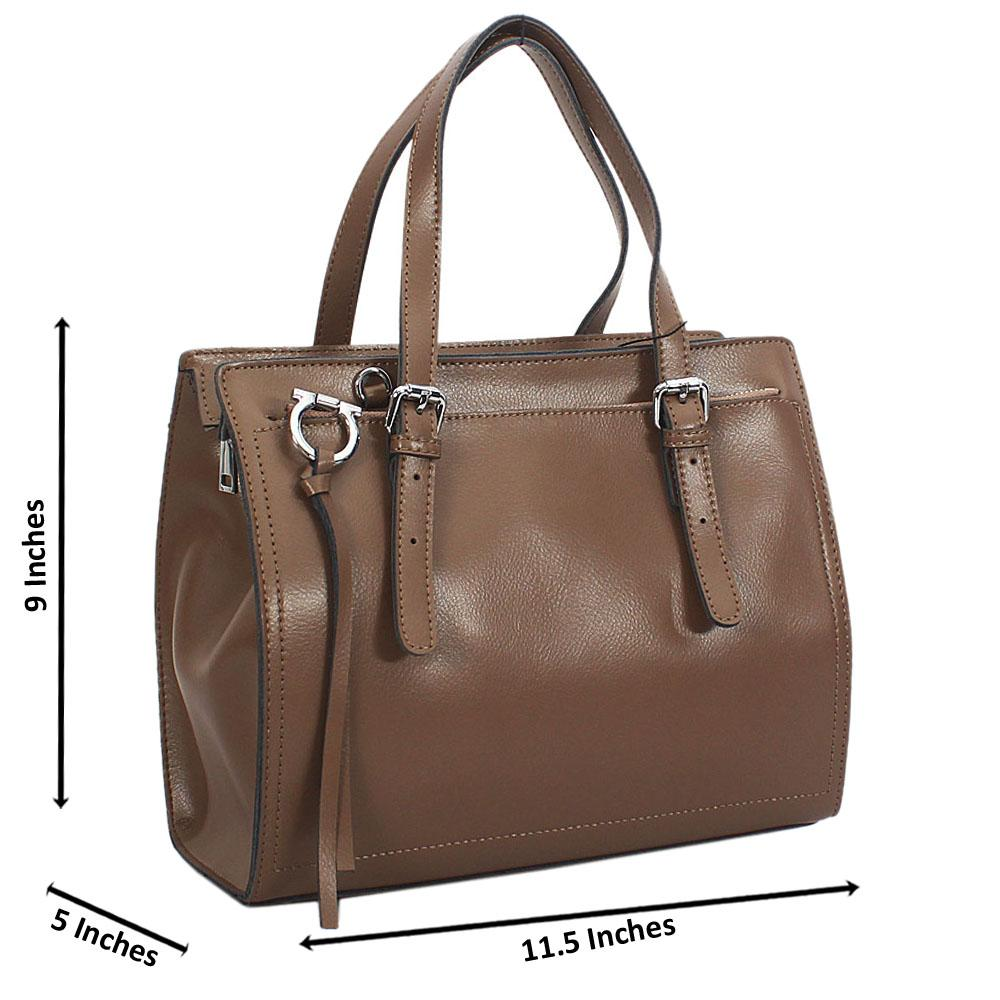 Camel Laura Montana Leather Tote Handbag