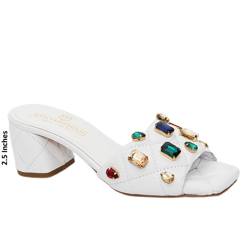Snow White Studded Italian Leather Mid Heel Mule