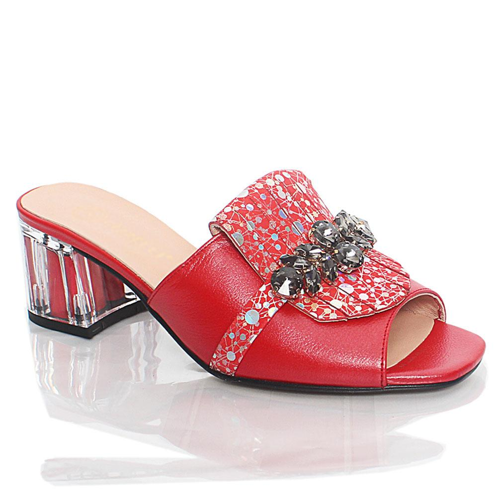 Red Nelle Shiny Italian Leather Mule Slippers