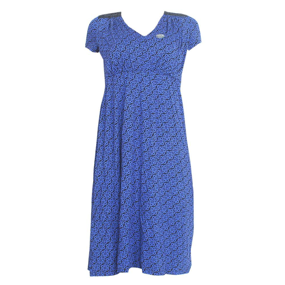 Per-Una Blue Black S-Sleeve Cotton Dress Sz-Uk 8