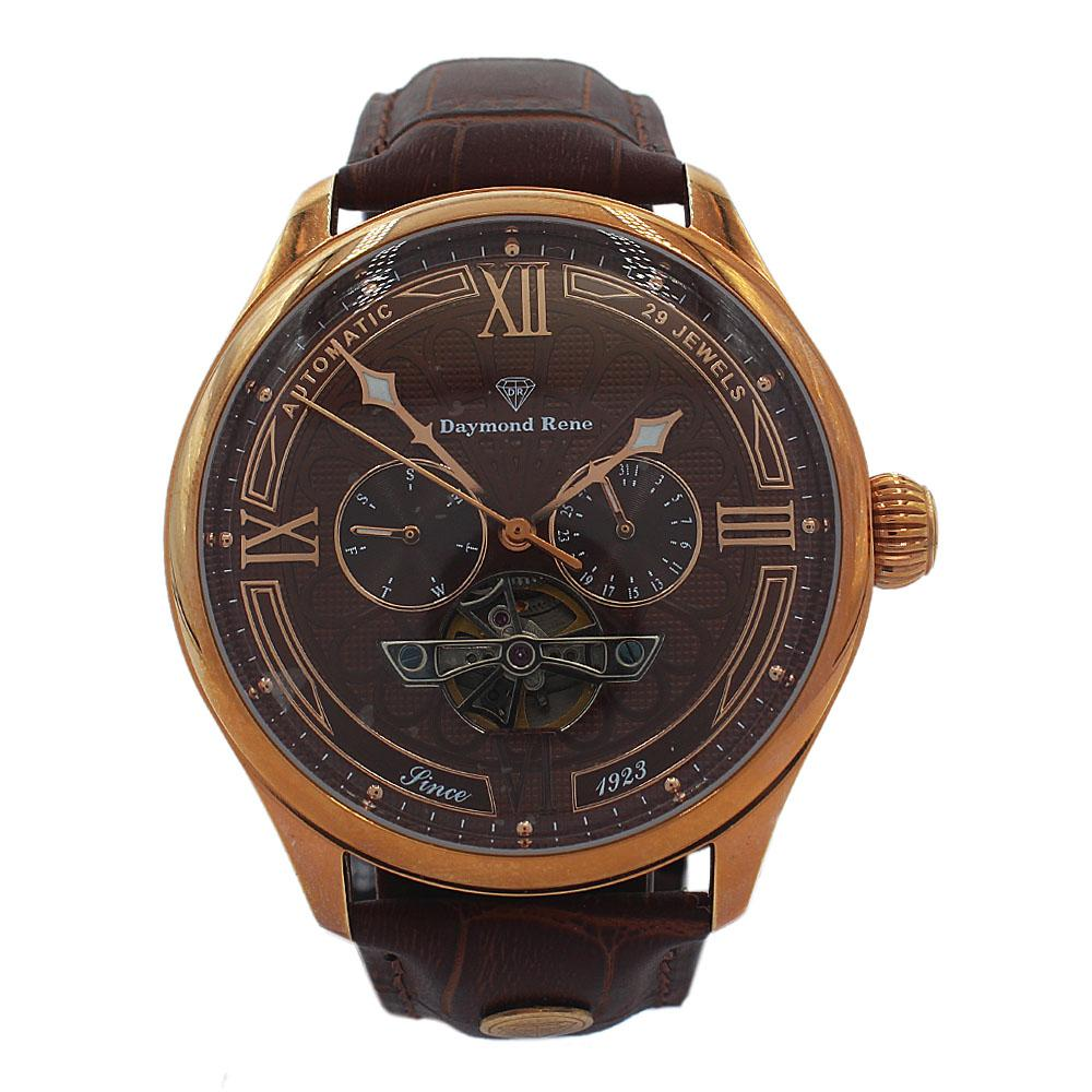 DR-3ATM-Rose-Gold-Brown-Leather-Chronograph-Automatic-Watch