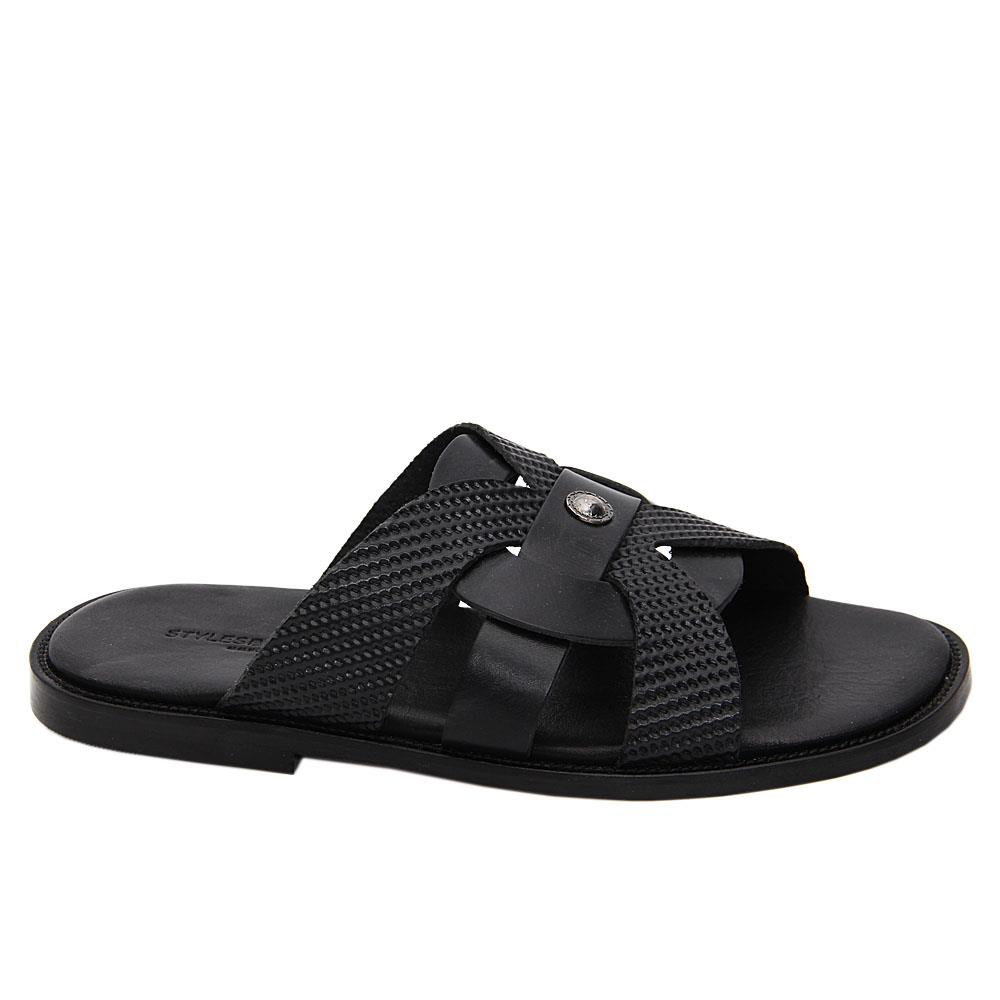 Black Andres Italian Leather Slippers