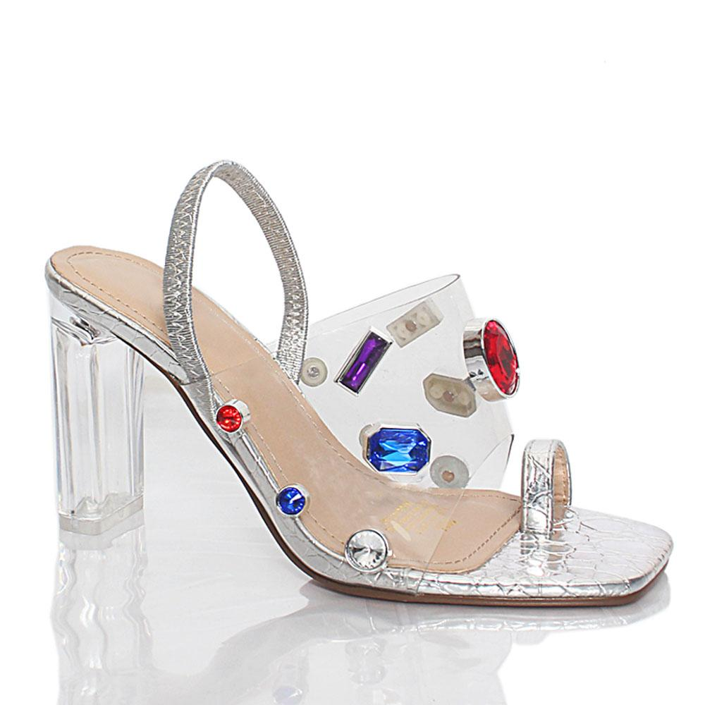 Silver Crystals Studded Transparent Leather High Heel