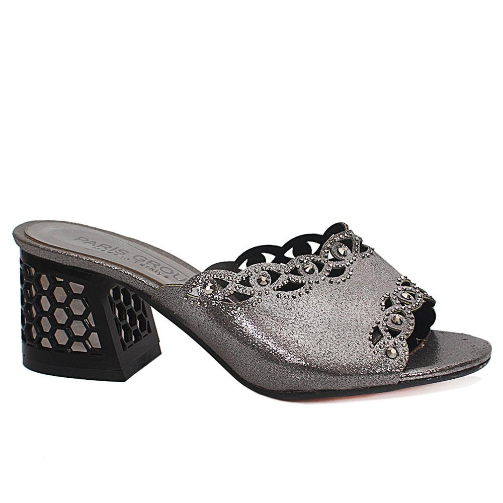 Gray Low Heel Shimmering Leather Ladies Slippers