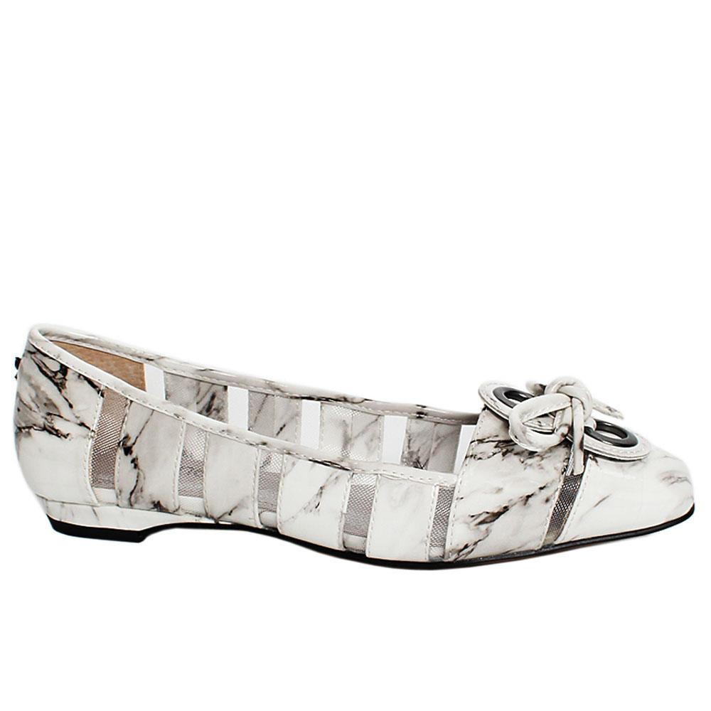 White Marble Knot Patent Leather Mesh Flat Shoe