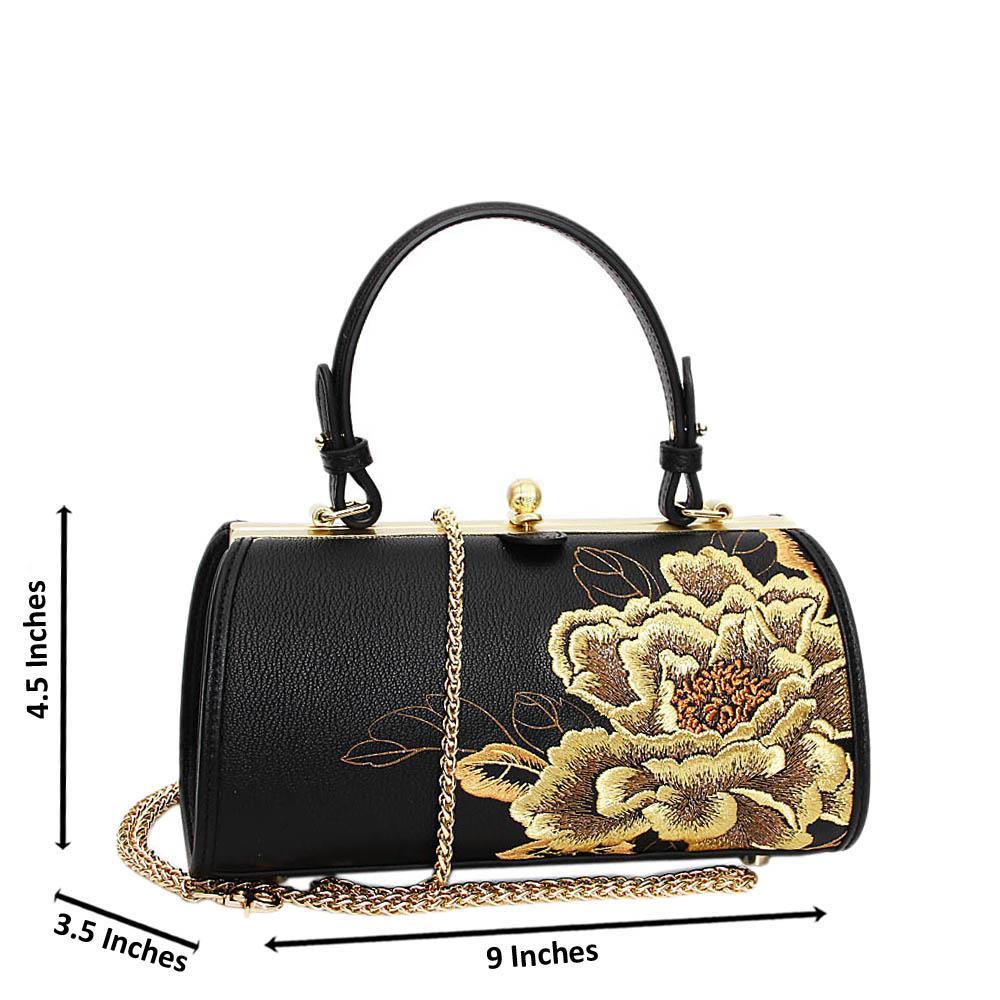 Black Golden Floral Niamh Premium Leather Clutch Handbag