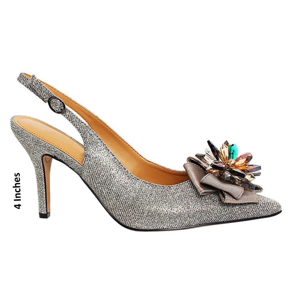 Gray Starfish Glitter Fabric Slingback Heel