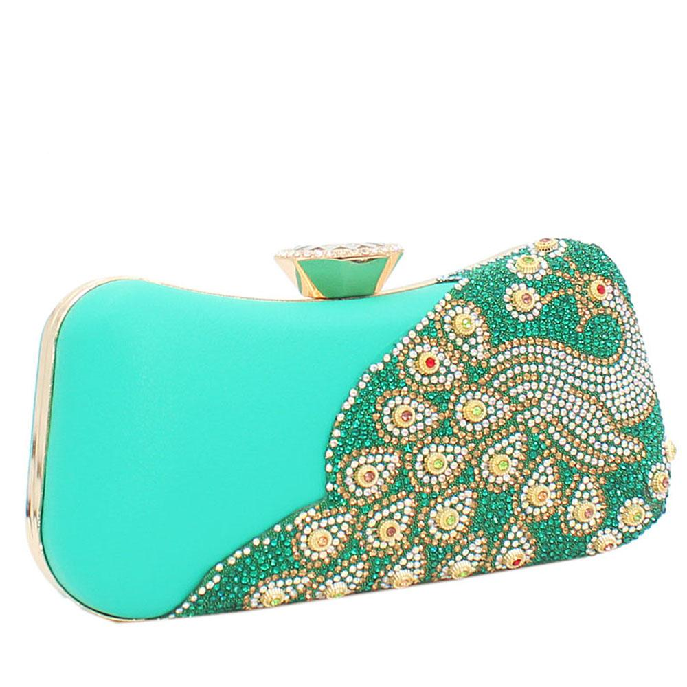 Green Ariel Evoke Studded Leather Clutch Purse
