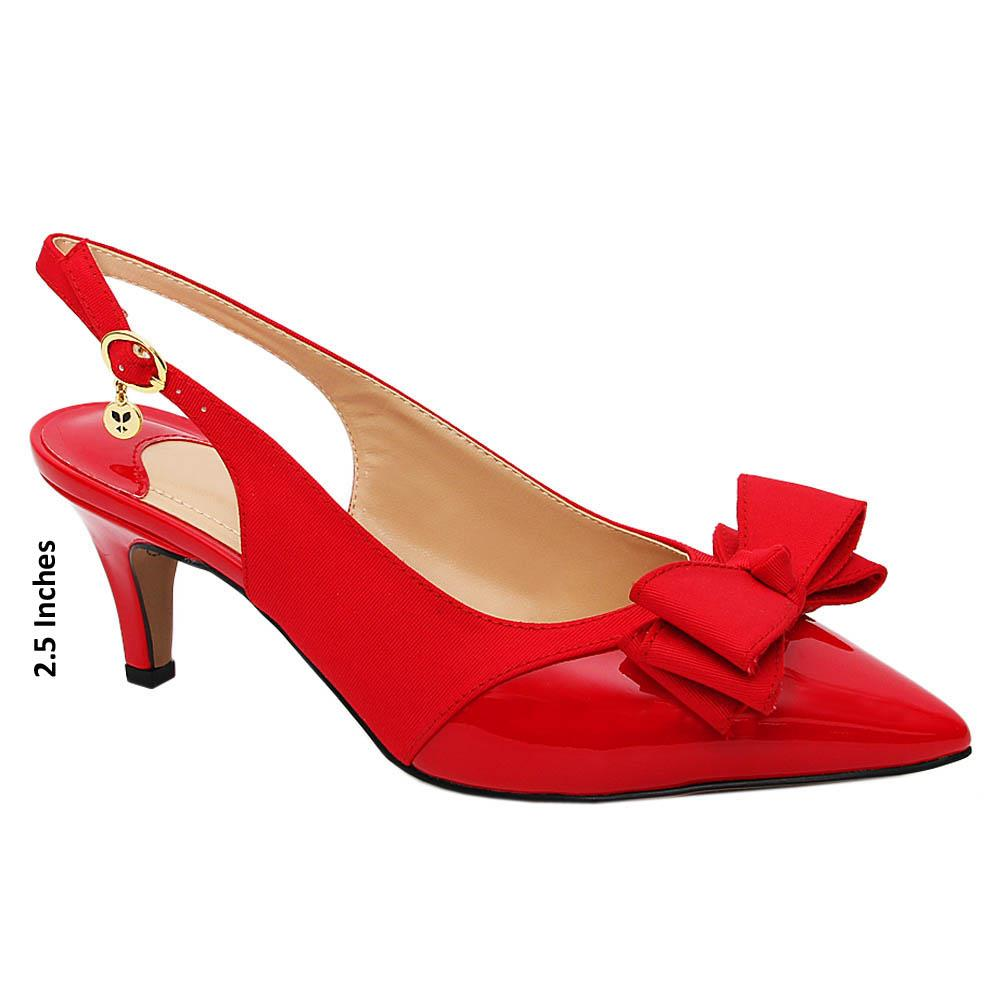 Red Jeda Fabric Leather Mid Heel Slingback Pumps