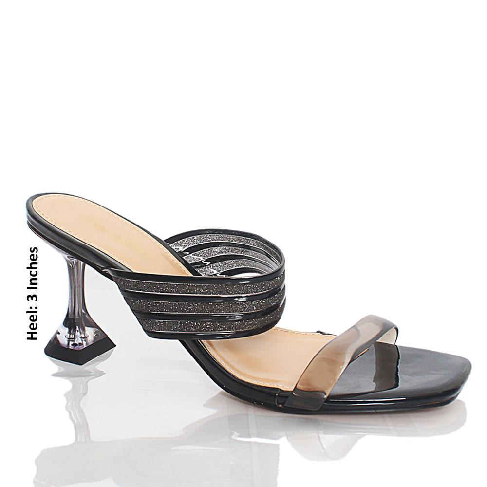 Black Webster Shimmering Rubber Leather Mules