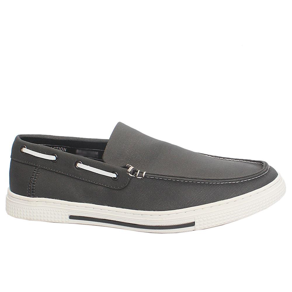 Dark Gray KC Reaction Fabric Slip On Loafers