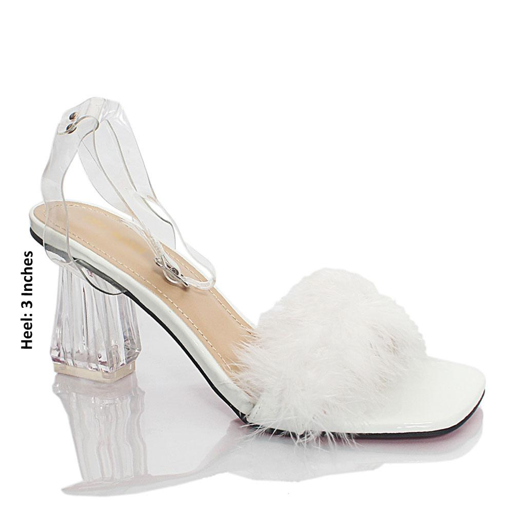 White Transparent Rubber Leather Heels