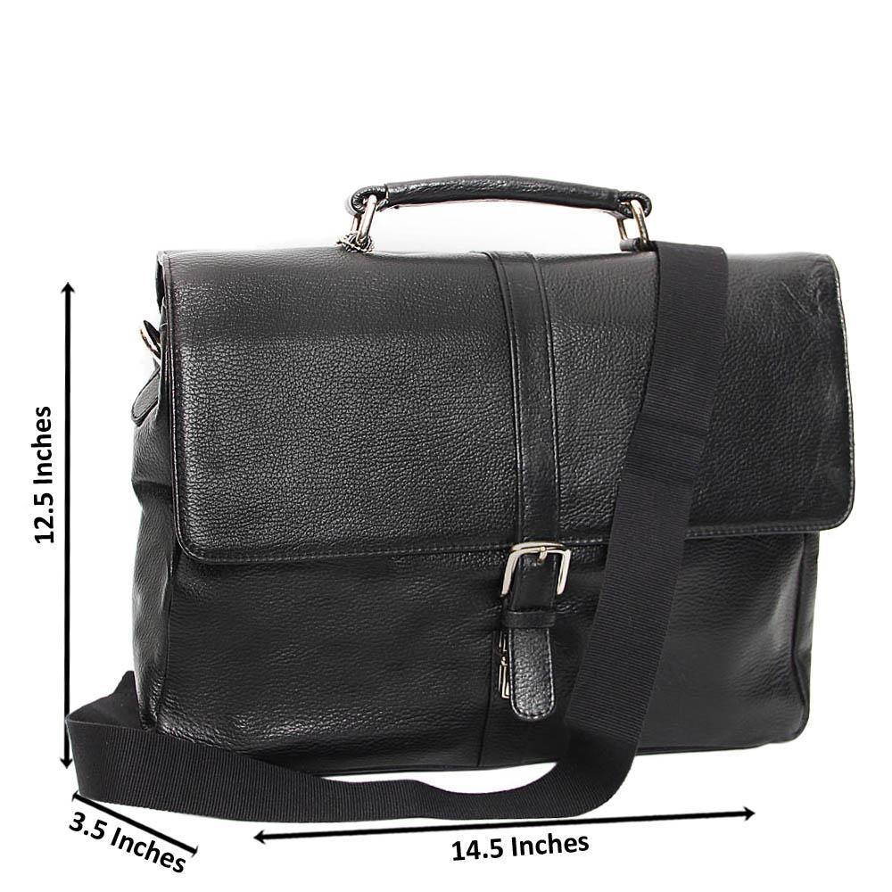 Black Jesse Leather Briefcase