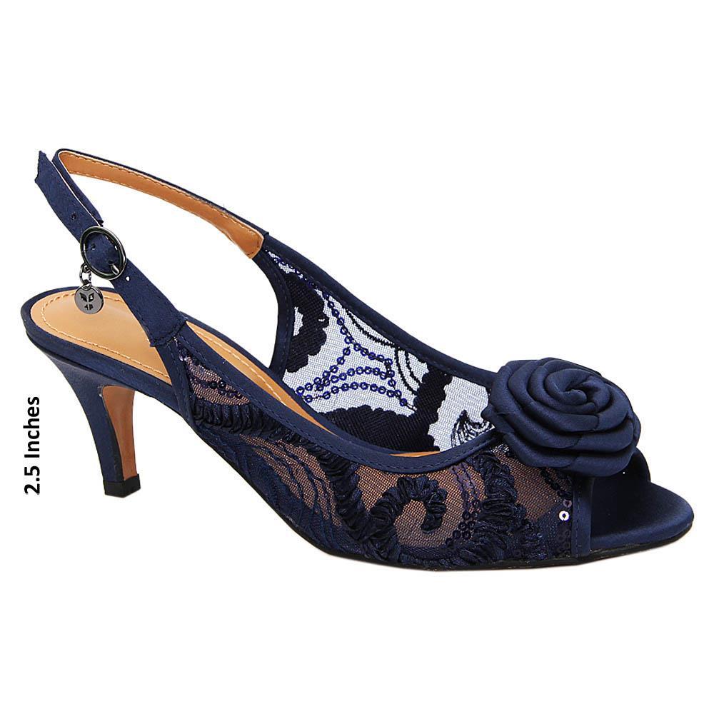 Navy Diana Satin Fabric Mid Heel Sandals