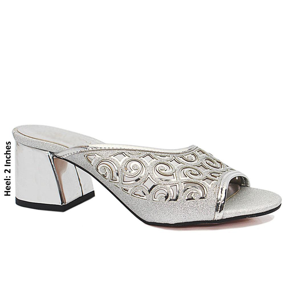 Silver Open Toe Shimmering Leather Mule