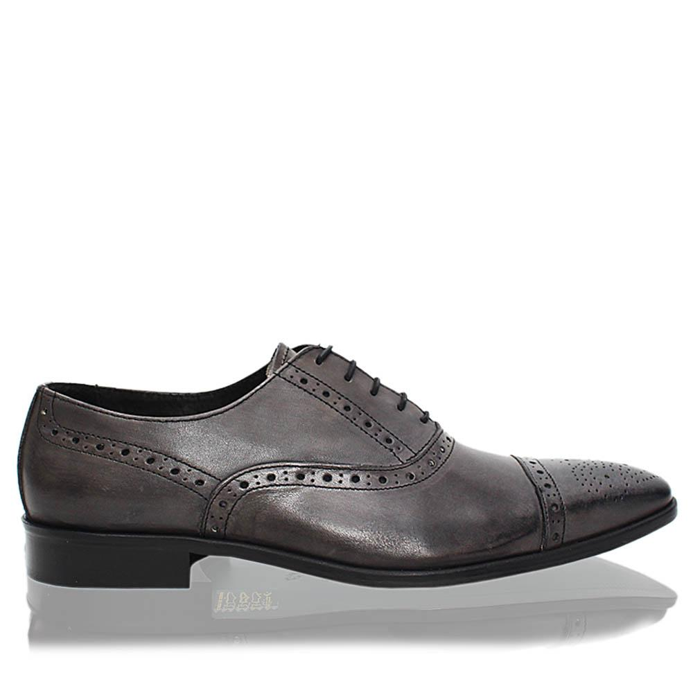 Blackish Gray Cesare Italia Leather Men Derby Shoes