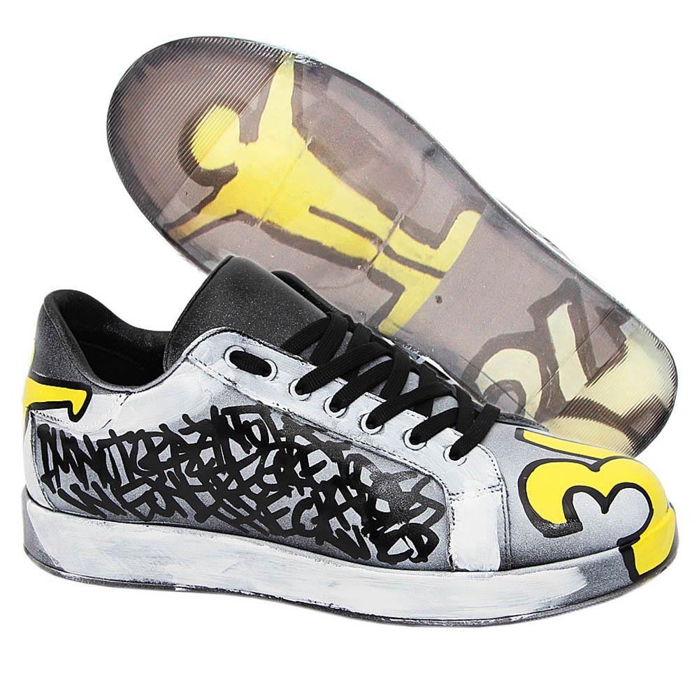 Gray Ozie Graphic Print Italian Leather Unisex Sneakers