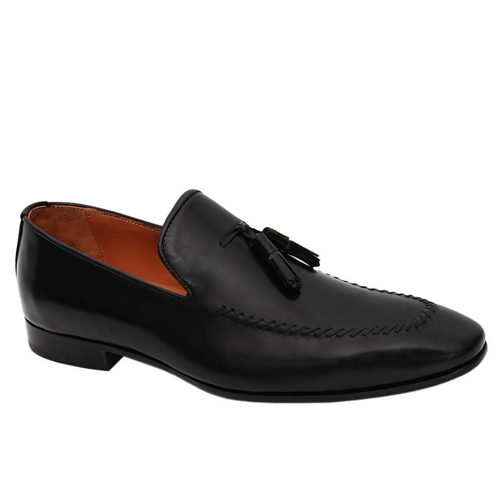 Black Xaviero Italian Leather Tassel Loafers