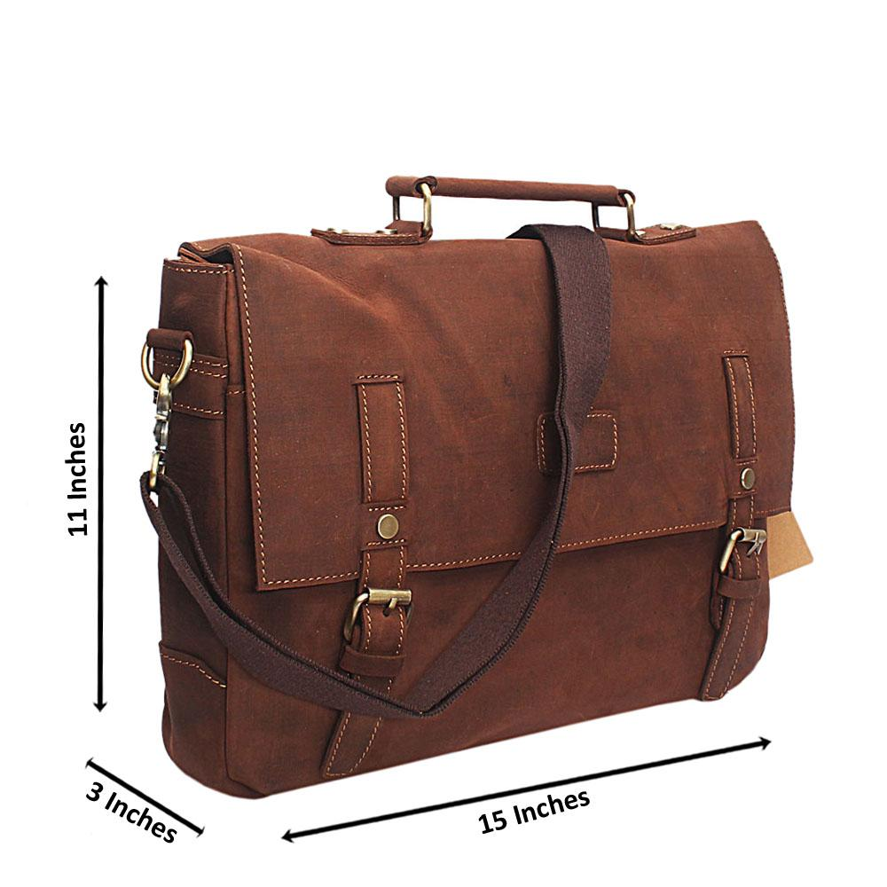 33607d0220d3 Buy Brown-Point-Stud-Handmade-Leather-Briefcase-Bag - The Bag Shop ...