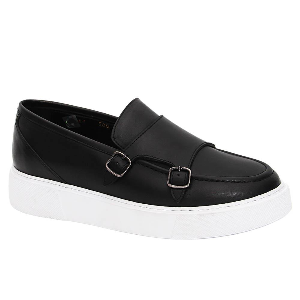 Black Primo Italian Leather Monk Strap Slip-On Loafers