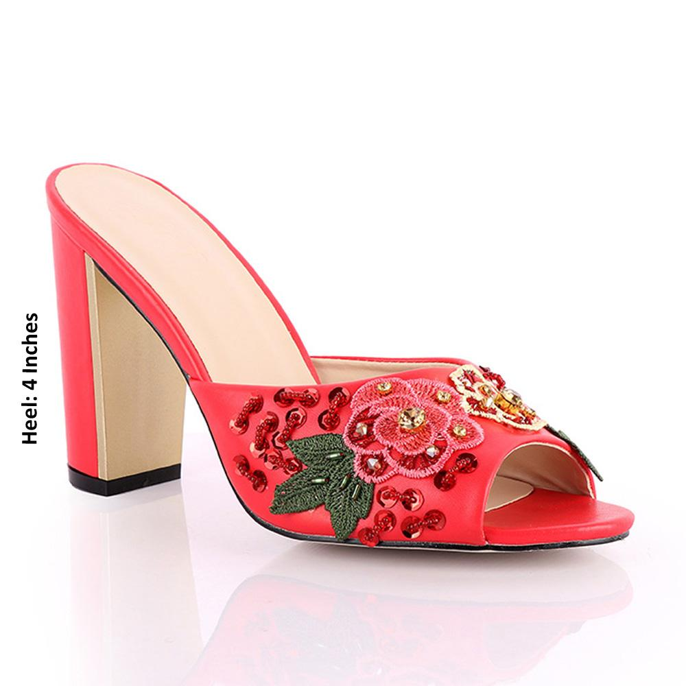 Red Geppi Floral Studded Leather High Heel Mules
