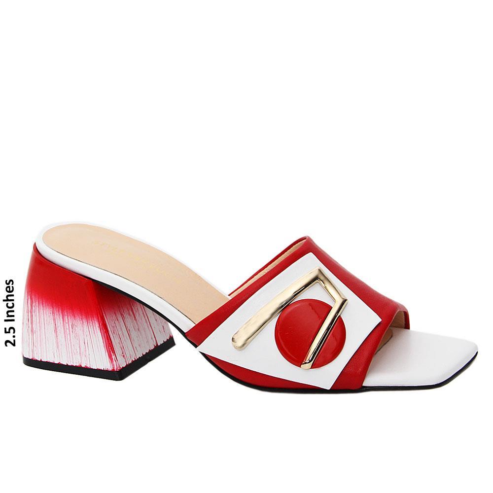 Ox Blood White Jolanda Tuscany Leather Mid Heel Mule