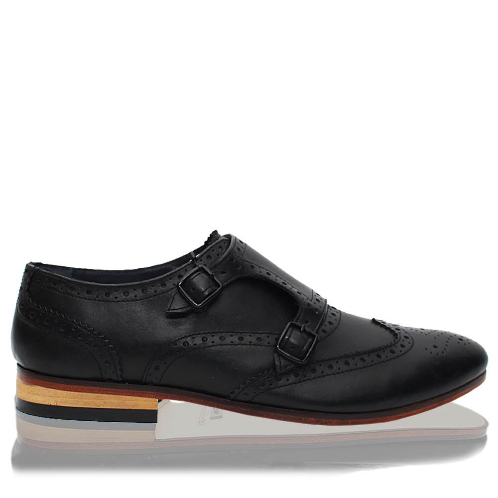 Black BB Leather Men Monk Strap Shoes