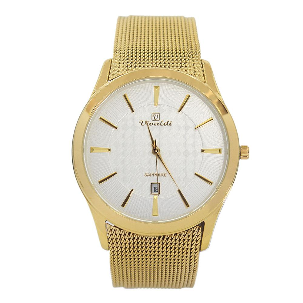 Gold White Romania Round Mesh Watch