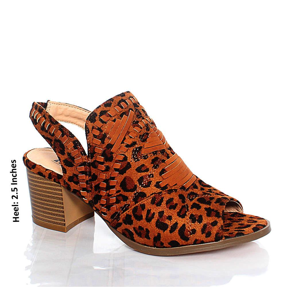 Leopard Skin AMS Paloma Suede Leather Inch Block Heel