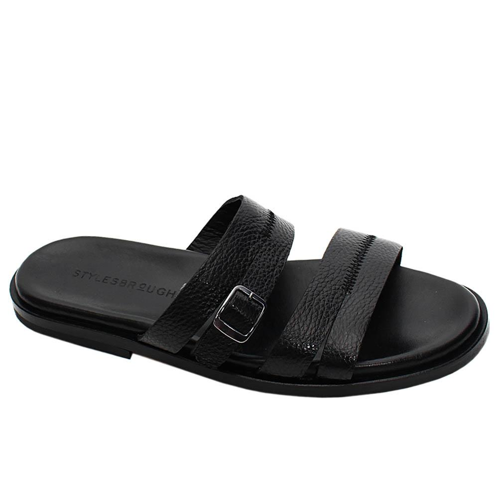 Black Sergio Italian Leather Men Slippers