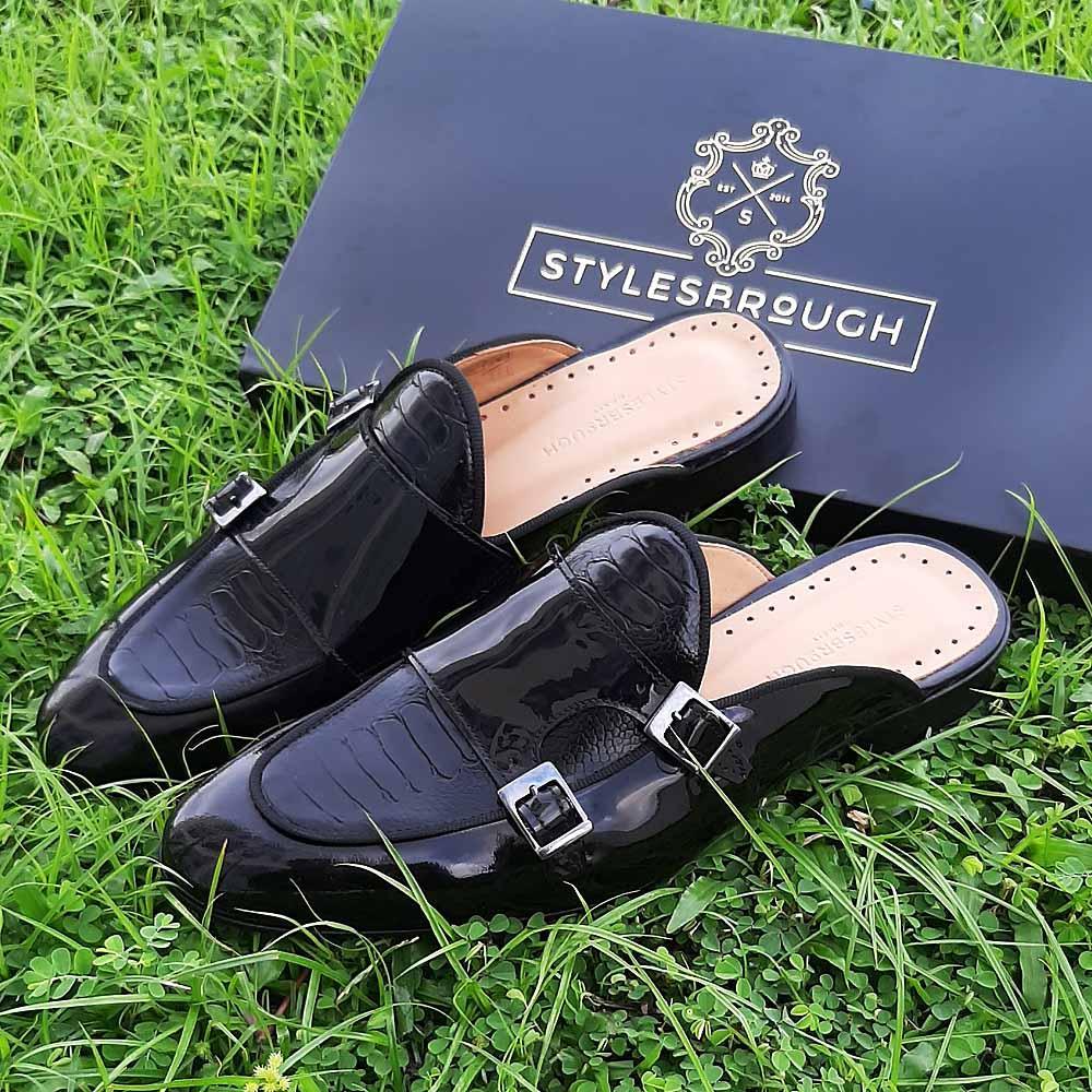 Black Carlo Patent Italian Half Shoe Slippers