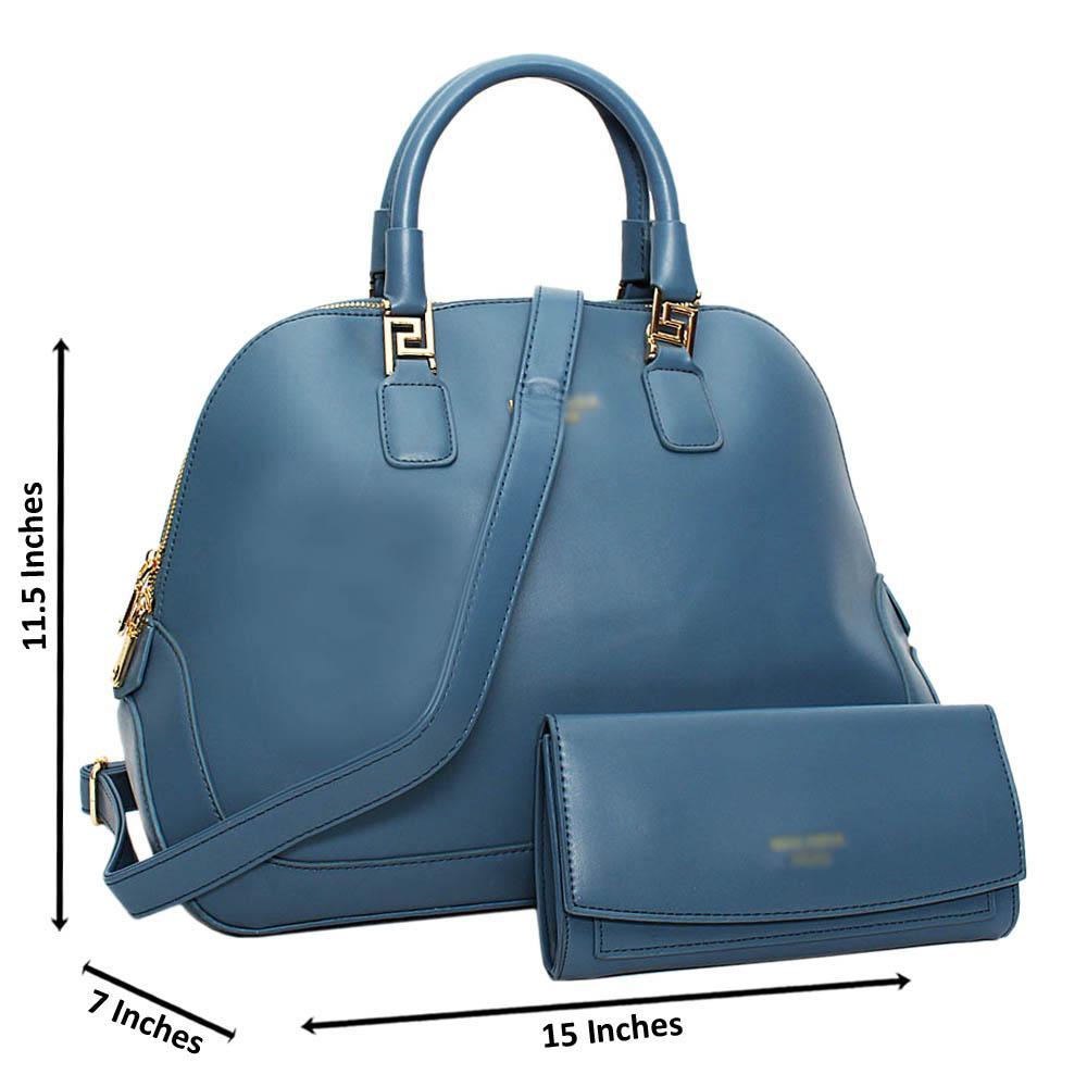 Sky Blue Harriet Leather Large Tote Handbag