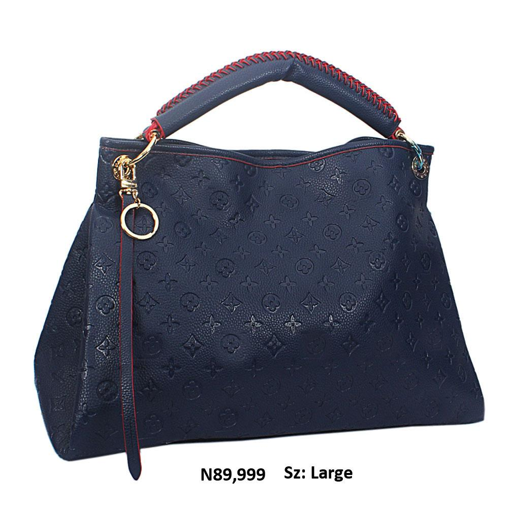 Navy Leather Big Designer Handbag