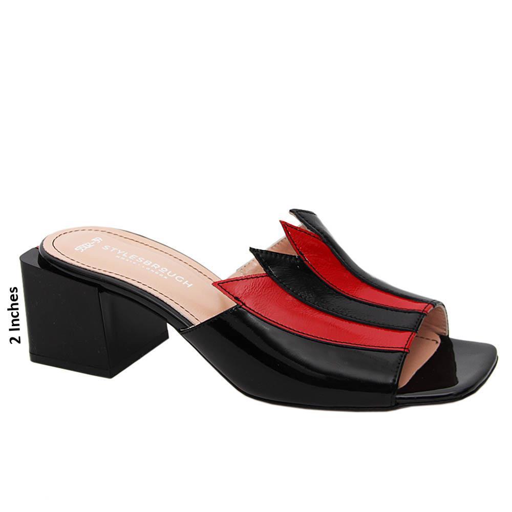 Black Esmeralda Patent Tuscany Leather Mid Heel Mule