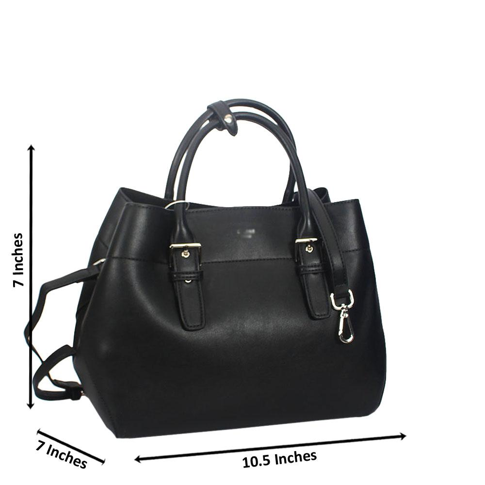 Erin Black Smooth Montana Leather Tote Handbag