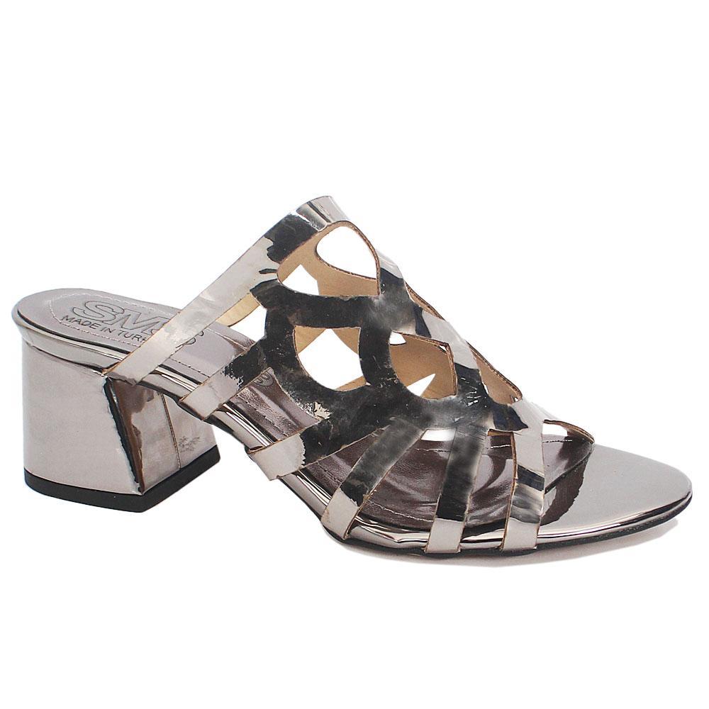 Sz 37 Marylyn Gray Leather Open Toe Low Heel Ladies Slippers