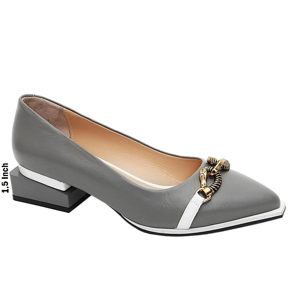 Gray Kelly Italian Leather Block Heel Pumps